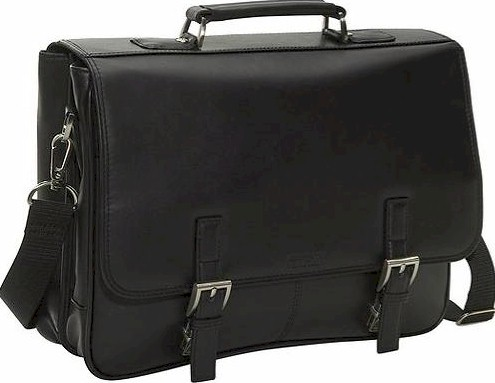"524975 Kenneth Cole Manhattan Leather ""A Brief History"" Flap Over Portfolio"