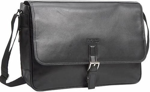 "524985 Kenneth Cole Manhattan Leather ""What A Bag!"" Expandable Messenger"