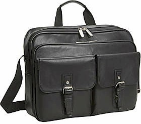 "525335 Kenneth Cole Manhattan Leather ""Keep On Buckin"" Single Gusset Top Zip Computer Case"